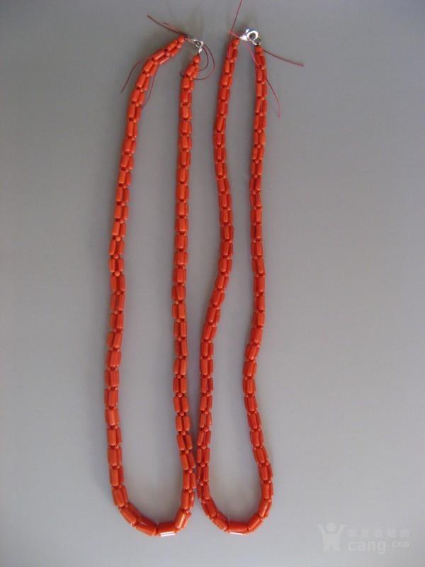 2a256阿卡深红珊瑚三股复合小圆柱项链