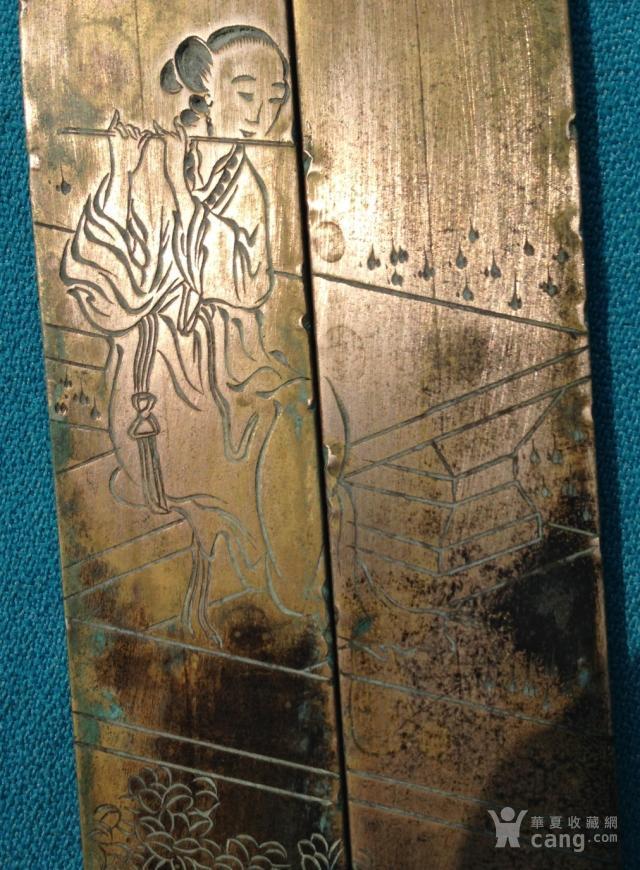 清代人物镇纸庭院一对刻瘦脸仕女镇尺吹笛梅信视频微白铜图片