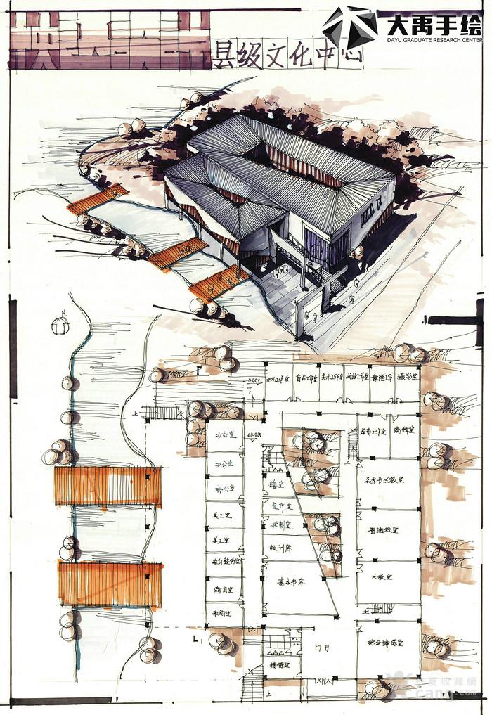 大禹手绘 建筑手绘 建筑考研 建筑设计 快题设计