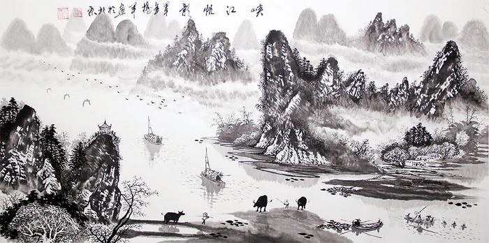 国画 山水画 写意山水 四尺横幅 杨*《峡江帆影》