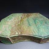 辽-绿釉花卉波浪纹瓷枕