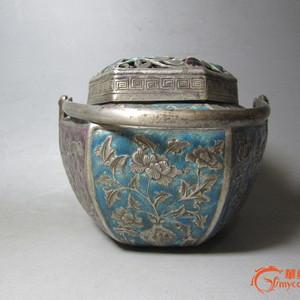 六棱银烤珐琅彩手炉