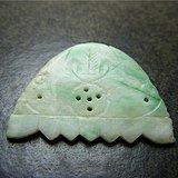 包浆深厚 清代.老坑糯米绿种翡翠镂空金钱蝙蝠大花片