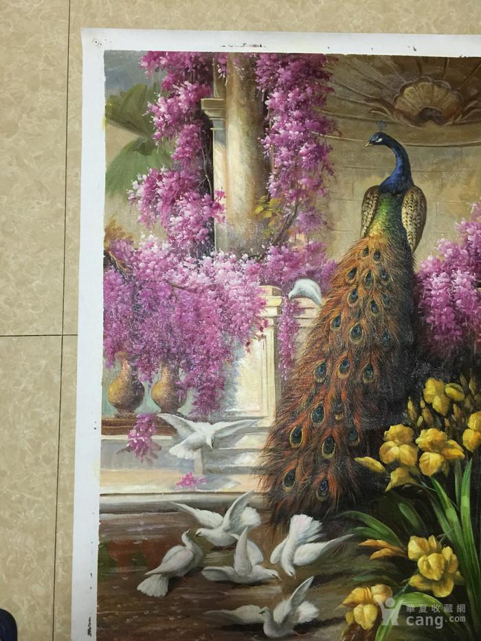 精品油画!中央美院流出 紫藤孔雀白鸽图 手绘真迹
