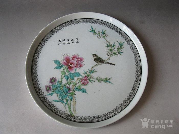 解放初五十年代-新粉彩-细路子-黑边花鸟纹茶盘