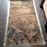 清代传世山水猴子绢画
