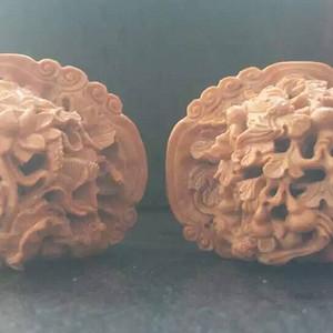 精雕核雕福禄万代和金玉满堂,双面雕,大师级的作品