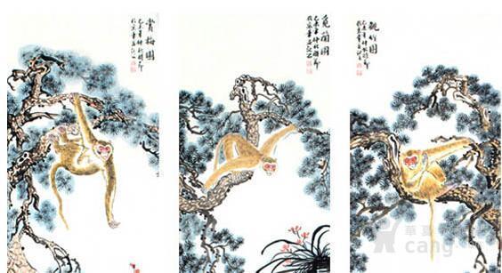 陈红林 金猴献寿图 国画大师陈红林作品真迹 陈