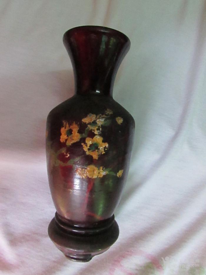 漆器木胎观音瓶带座