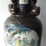 雍正年制乌金釉描金人物花瓶