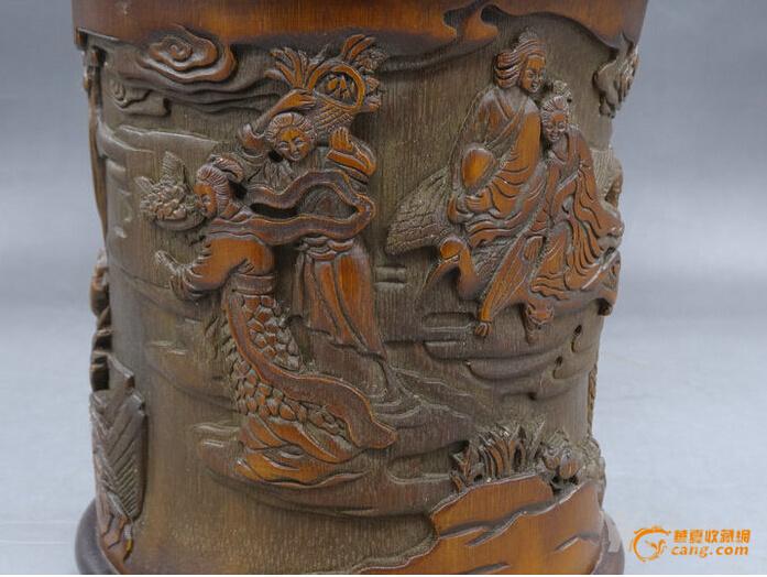 竹雕竹根雕竹子雕刻祝寿图竹子笔筒