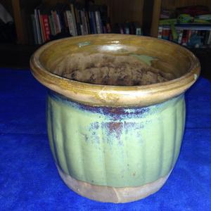 古董古玩收藏 文革 杂项 绿釉紫砂小缸水缸老砂罐子陶罐