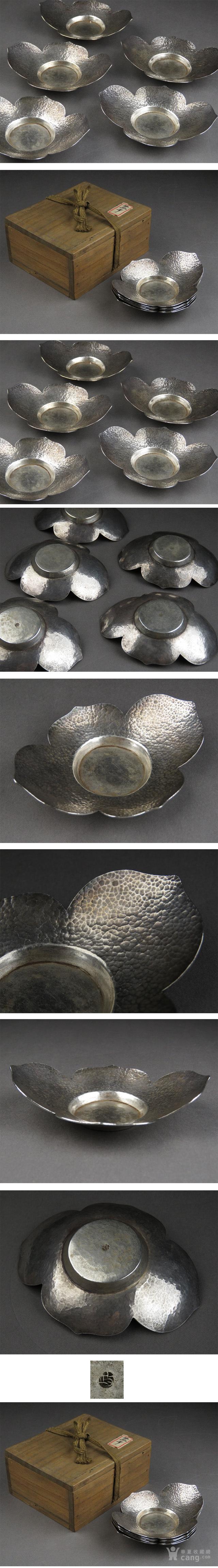 033日本银茶道托盘-中古造-纯银鎚目花型茶托五客图2