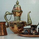 精美正宗土耳其手工锤揲镶嵌铜胎珐琅彩咖啡具一套