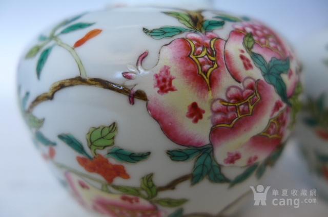 清代粉彩花鸟苹果罐一对