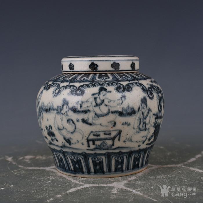 明成化青花人物故事纹天字罐1 古玩古董古瓷器