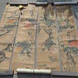 晚清民国时期地方文人书画家(程乐天)绘画的富贵牡丹图四条屏