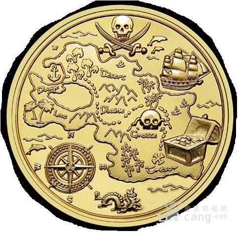 澳大利亚豪德岛藏宝图.海盗彩金纯铜 珐琅铜章