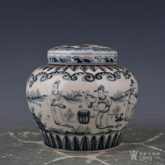 明成化青花明皇羯鼓人物故事纹天字罐9 古玩古董古瓷器