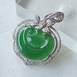 冰种满绿18K金镶钻缅甸老坑A货翡翠如意吊坠