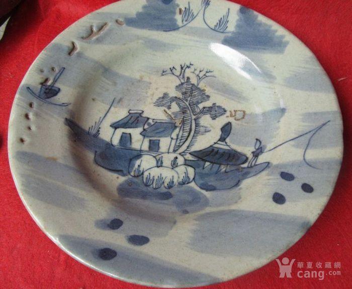 成化年制青花瓷山水房屋风景瓷器盘