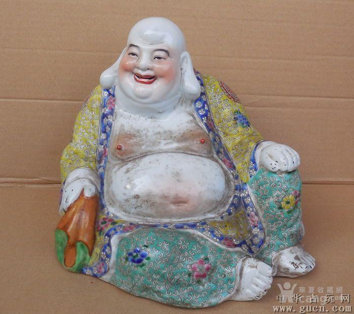 民国曾龙升布袋弥勒粉彩瓷佛像