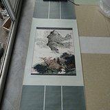 著名书画家艺人(*生)[夏雨之父]绘画的山水风光图