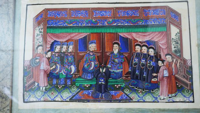 一组精巧艳丽的清代五福临门拜高堂以及美人女红图通草画