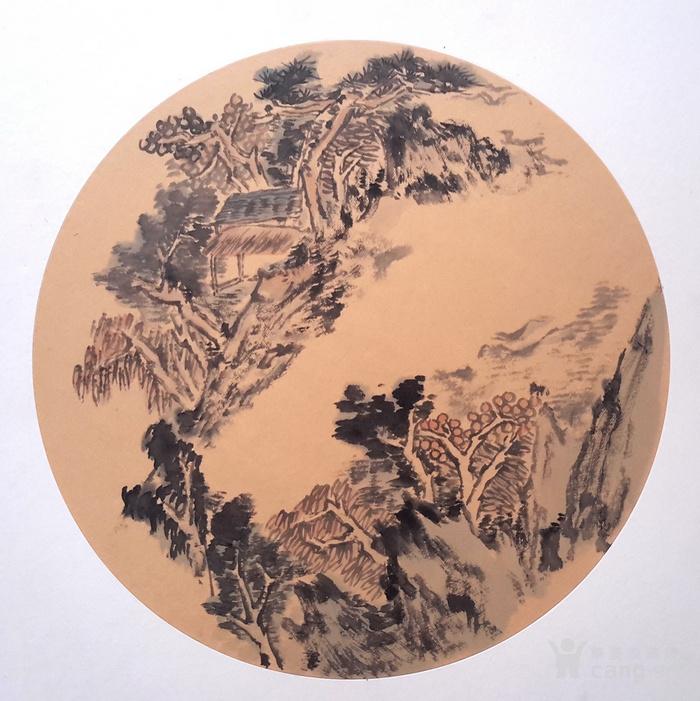 圆扇清雅风景国画图片