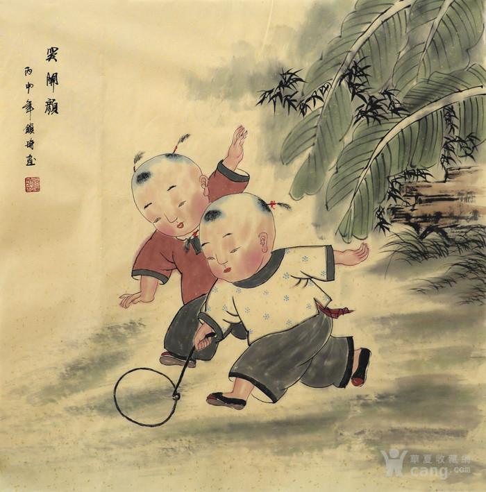谢镇琦真迹 手绘国画人物 写意 童趣图图片