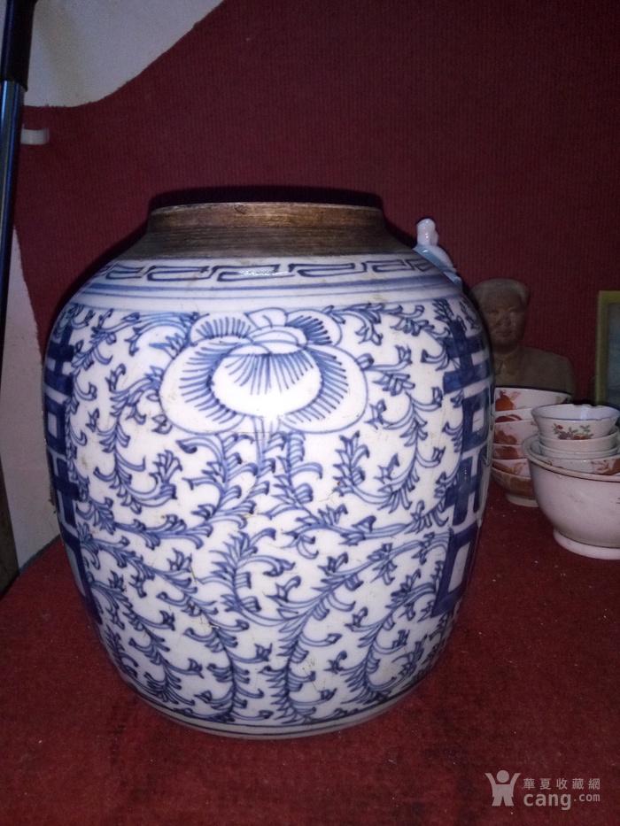 一个青花喜字罐