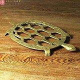 民国老黄铜长寿龟形回纹文房手炉器物底座