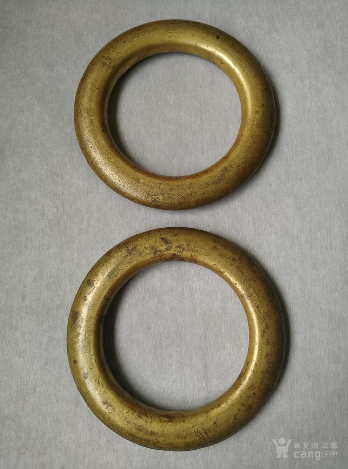 明代铜鎏金扁圆型蓆镇一对,也可能是镇纸图1