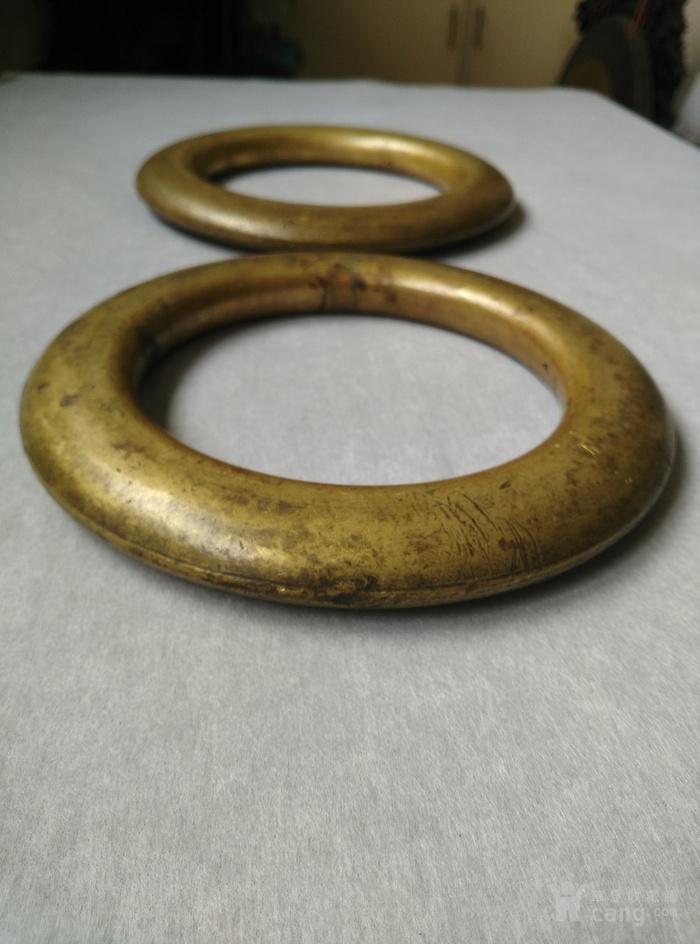 明代铜鎏金扁圆型蓆镇一对,也可能是镇纸图3