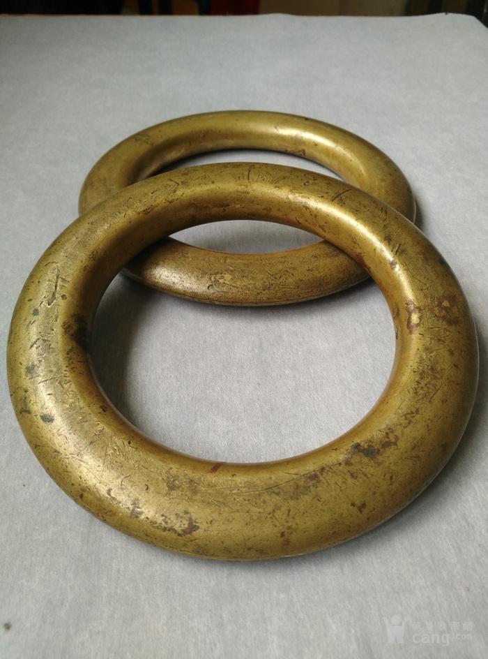 明代铜鎏金扁圆型蓆镇一对,也可能是镇纸图4