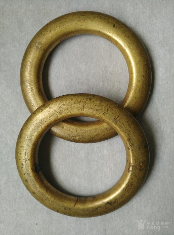 明代铜鎏金扁圆型蓆镇一对,也可能是镇纸图5