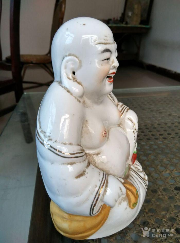 民国粉彩瓷塑弥勒佛像