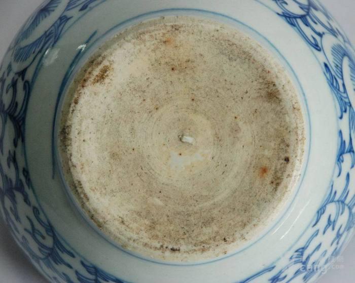 清代中期-细路漂亮的青花缠枝花纹药碾子包老全品