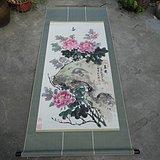 著名书画家艺人(*生)[夏雨之父]绘画的牡丹富贵图