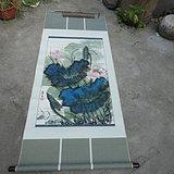 著名书画家艺人(*生)[夏雨之父]绘画的荷花鱼乐图