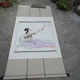 著名书画家艺人(*生)[夏雨之父]绘画的仕女赏画图