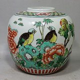 清代五彩花鸟绘画罐