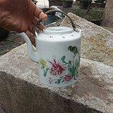 【江啸堂】藏品 古玩 民国花鸟画瓷茶壶1只老瓷壶LW 古董