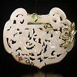 ★┋�P墨紫燕┋9k金镶清代一级白和田玉和合二仙如意锁形佩吊坠