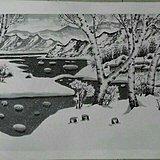 山水画《雪情》