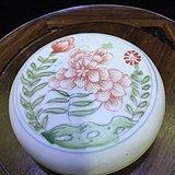明晚期 红绿彩花卉纹粉盒