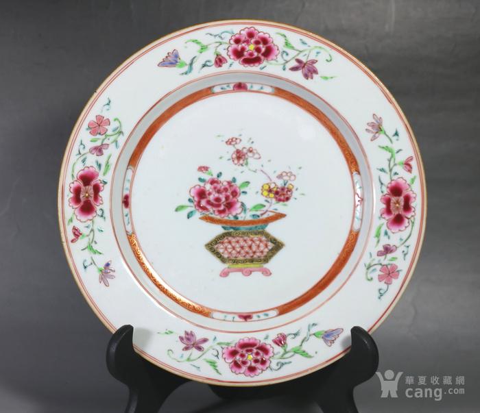 清雍正乾隆时期粉彩提篮花纹盘图1