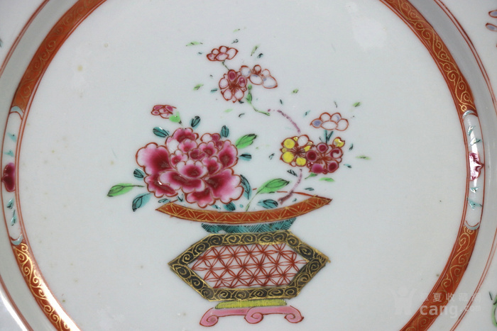 清雍正乾隆时期粉彩提篮花纹盘图2