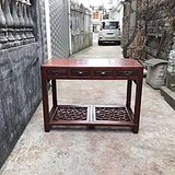 民国 苏工 双马蹄 冰纹踏板 红榉老书桌