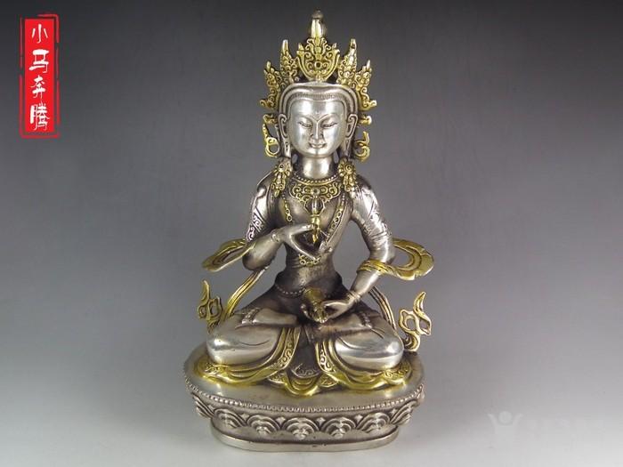 清代老白铜鎏金莲花座度母大坐像-图1
